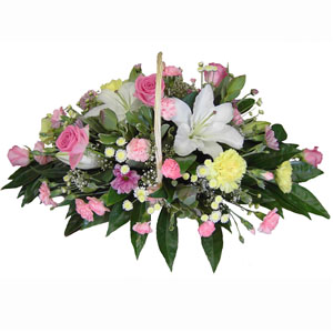 Fresh Floral Basket In Pink