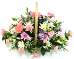 Fresh Floral Basket Pink/Cream