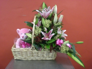 Fresh Floral Baskets With Teddy
