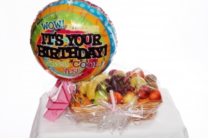 Fruit Basket, Balloon And Chocolate Bundle
