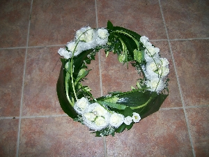Funeral Wreath In White And Green