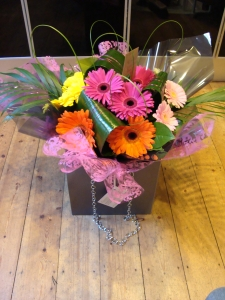 Gerbera And Foliage Hand Tied Bouquet