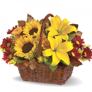 Golden Days Flowers Basket #T1742