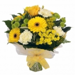 Hand Tied Bouquet In Bright Yellows