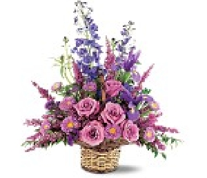 Lavender And Blue Flower Basket