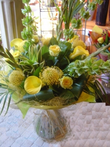 Lemon Zest Aqua Hand Tied Bouquet
