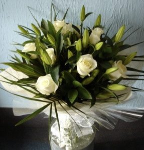 Luxury White Rose And Lily Hand Tied