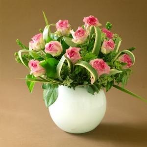Modern Roses In Ceramic Vase