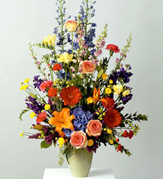 Multicolored Vase Arrangement For Sympathy