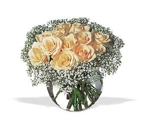Natural Roses With Baby's Breath