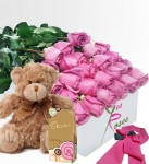 One Dozen Boxed Roses With Chocolates And Teddy Bear