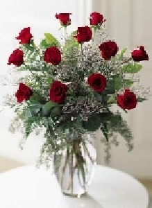 One Dozen Of Red Roses With Baby's Breath