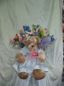Pastel Bouquet With A Bear