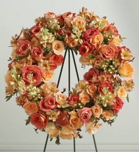 .Peach Memorial Standing Wreath