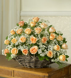 Peach Rose Fireside Basket