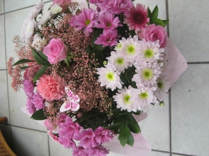 Pink And White Hand Tied Bouquet