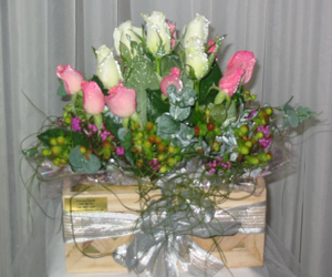 Pink And White Roses In A Box