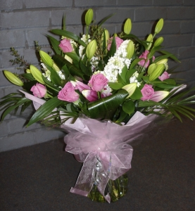 Pink Rose And White Lily Hand Tied