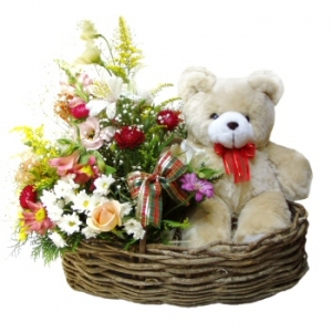 Plush Toy With Flower Arrangement Gift Basket