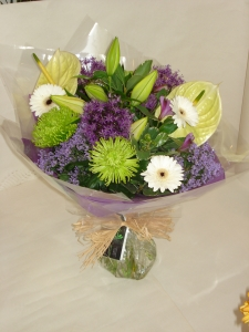 Purple And Lime Hand Tied Bouquet