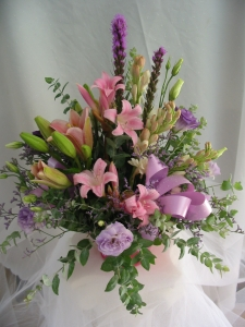 Purple And Pink Pot Arrangement