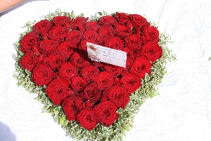 Red Rose Funeral Heart