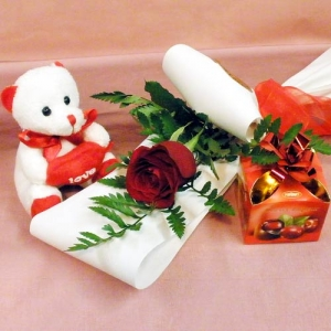 Red Rose, Soft Toy & Chocolates