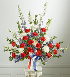 Red, White And Blue Sympathy Tabletop Arrangement