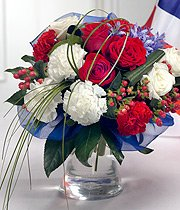 Red White & Blue Flowers Royal Vase