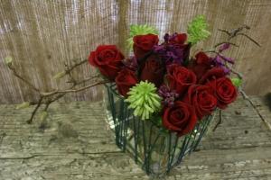 Rose In Square Vase