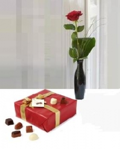 Rose In Vase With Chocolates