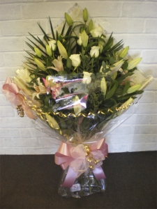 Roses And Lilies Gift Wrapped