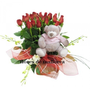 Roses Arrangement With Teddy