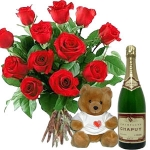 Roses, Champagne And A Teddy Bear