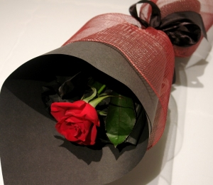 Single Red Rose & Luxury Chocolates