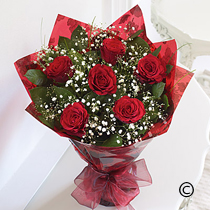 Six Red Roses Hand Tied