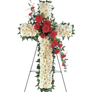Standing Cross With Carnations Cluster #2064T