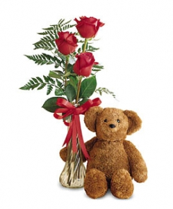 Teddy Bear And Red Roses Bud Vase #823BX