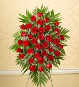 Three Dozen RED Rose Sympathy Standing Spray