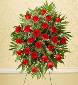 Two Dozen RED Rose Sympathy Standing Spray