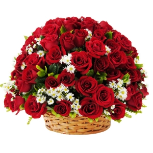 Two Dozen Red Roses Basket