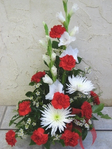 White And Red Funeral Arrangement