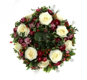 White Roses Funeral Wreath