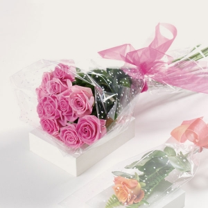 Wrapped Pink Or Lavender Roses