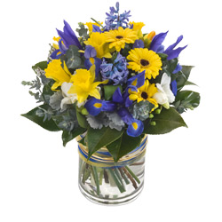 Yellow And Blue Flower Vase