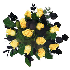 Yellow Rose Aqua Hand Tied Bouquet